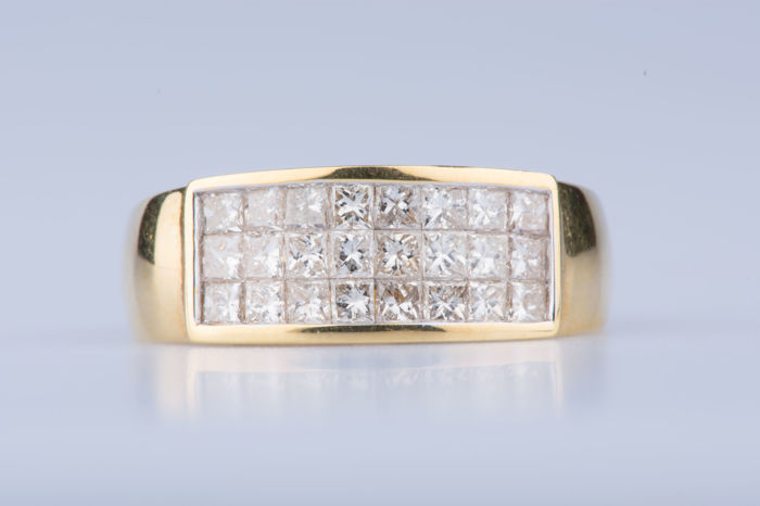 18 karat Gull - Ring Diamant