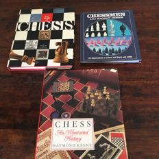 3 special chess books with hundreds of pictures, English language