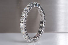 2.12 Ct full eternity brilliant diamond ring - 950 Platina - Size 54.