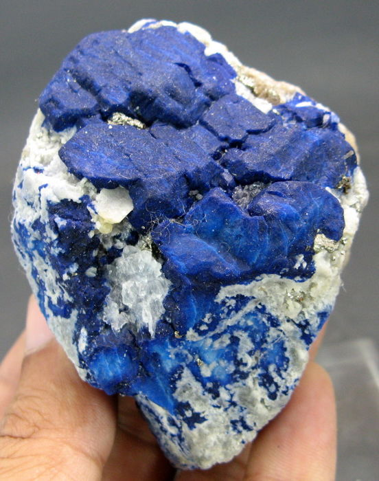 Deep Blue Lazurite with Pyrite and Forsterite specimen- 75 x 60 x 48mm - 276gr