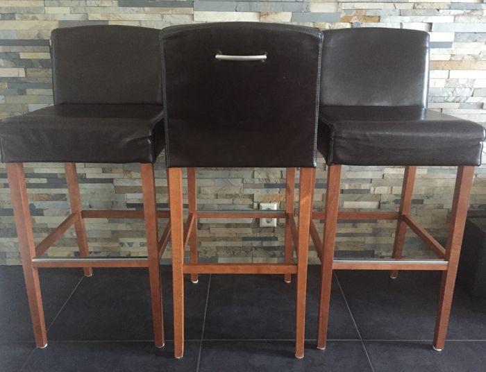 Leather Bar Stools (Three in Total) of the Brand Mobitec