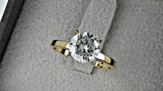 2.01  ct F/SI1 round diamond ring 14K yellow gold - size 6