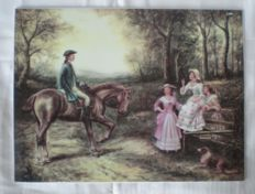 Large porcelain Plaque marked with Romantic depiction