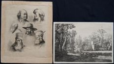 Two prints of Jean Jacques Boissieu (1736-1810) 'Paysage au Troupeau' and 'Etude de six Tetes' - Circa 1793