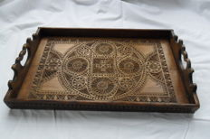 Wooden tray hand-carved