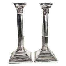Pair of silver neo classical style column candlesticks - Britton, Gould & Co - Birmingham - 1930