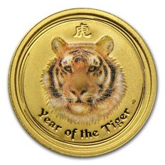 Australia - $5 - Perth Mint Lunar Tiger 2010 - colour - 999.9 gold - gold coin