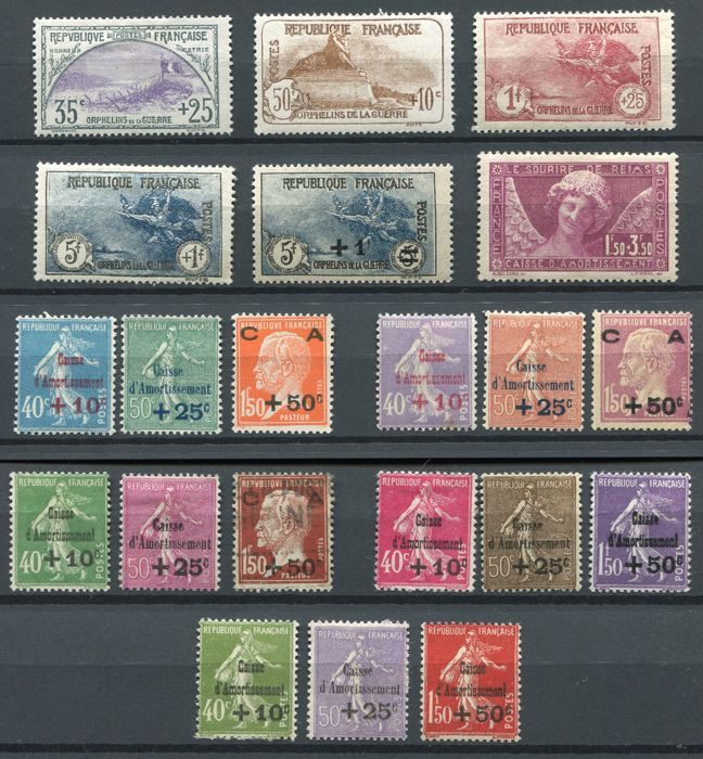 France 1917/31 - Selection of semi-classic stamps - Yvert 152, 169, 230/32, 256, 246/51, 253/55 266/68, 275/77