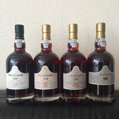 Graham's 10, 20, 30 and years old Tawny Port - 4 bottles in total