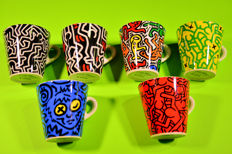 Keith Haring collection of six Mugs produced on original design by Tognana Italy. New never used