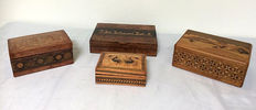 Four English boxes including Tunbridge ware - England various periods