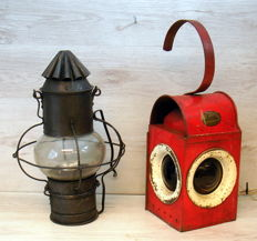 Two old ship lamps, electrified, one brand Habo.