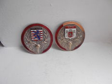 2 x BELGIUM  SPA AND BRUGGE chrome on brass and enamel car badges great detail original