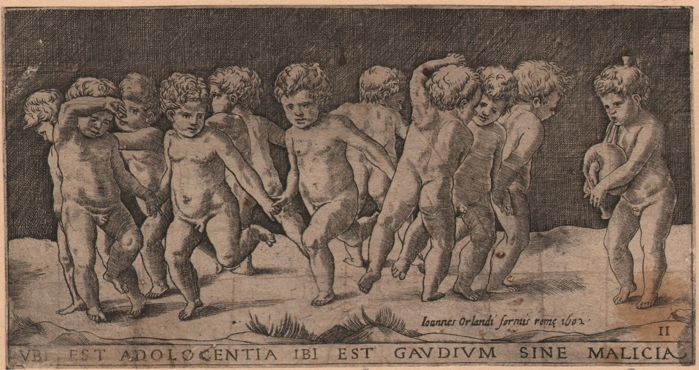 Georges Reverdy ( 1529 fl - 1564 died) - Dancing Children with Bagpiper - Ca. 1550