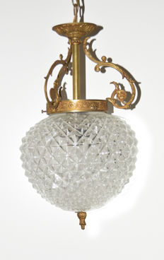 Two old crystal lamps - ceiling lamp and pineapple lamp