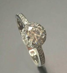 14K/585 White gold - size : 54 - VVS 5mm diamond cut moissanite 2.0 CT