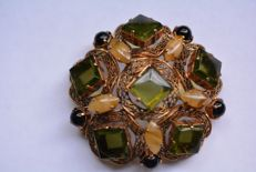 Very Rare Vintage Christian Dior 1963 Large Cabochon Art Glass Filigree Brooch