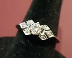 Solitaire ring in 18 tk white gold with 0.20 ct diamonds, size: 12/13 *** no reserve price ***