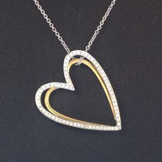 Bi-colour white/yellow gold 18 kt (750/000) necklace with a heart pendant with 0.36 ct brilliant cut diamonds.  W/VS