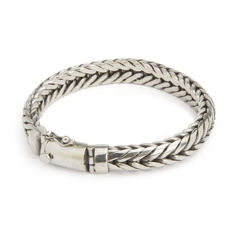 Solid bracelet made of 925/1000 sterling silver (tested) - Total length 24.5 cm
