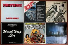 """lot of six lp's TWO of which are DOUBLE lp's: """"Montrose: Paper money"""" """"Various Artists: Reading rock vol. one (SEALED unplayed)"""" """"Ted Nugent: Free for all"""" """"Uriah Heep: Live"""" """"West Bruce & Laing: Whatever turns you on"""" """"Helloise: polarity"""""""