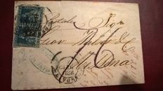 Tuscany 1851 - pair 6 cr. azzurro su grigio used on a  cover from Livorno to Messina