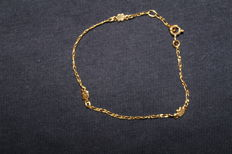 gold bracelet for a child with pictures of elephants - 16cm