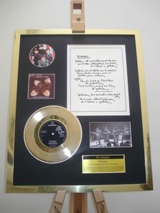 "The Beatles Yesterday 7"" Single Gold Plated Record + Hand-Written (print) Lyrics Record Display"