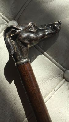 Wooden cane, 1920-30s with dog head
