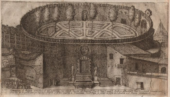 Aloisio Giovannoli (1550-1618) - The Mausoleum of Augustus - Very rare etching from 1616