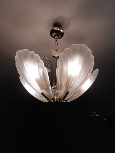 Beautiful large ceiling lamp flowers brass and milk glass