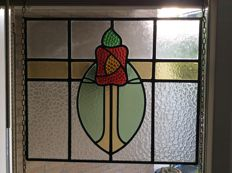 Beautiful Art Deco with soft colours stained glass with mosaic pieces from mouth-blown and cut special glass window hanger - England, from around 1920