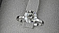 2.06 ct  round diamond ring 18K white gold - size 6,5