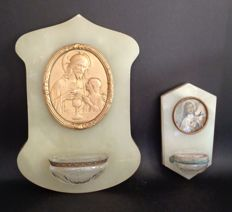 2 Onyx holy water fonts anno 1925, onyx on copper, Christ with child and the holy Chalice, and saint Bernadette
