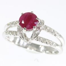 Diamond and ruby white gold knotted engagement ring
