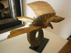 """Vintage sculpture """"flying fish""""-taxidermy collage"""