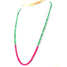 Ruby & Emerald  necklace with 18 kt (750/1000) gold clasp, length 50cm.