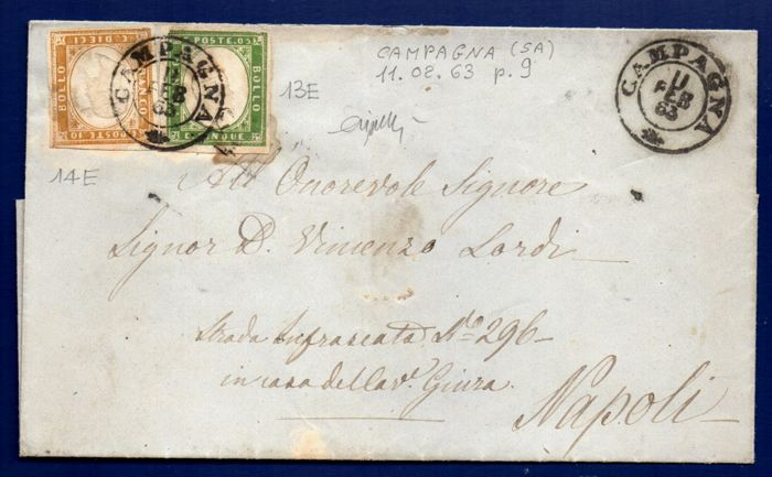 Sardinia, 1863 -- 5 cent and 10 cent, on letter from Campagna to Naples -- Sassone  No.  13 E/14 E