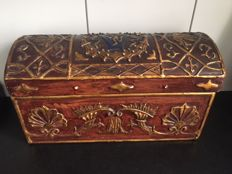 Distinguished chest with coat of arms, wood