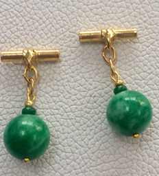 Vintage gilt silver Jade and Emerald men's cuff links ca. 1970