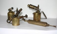 Four antique brass plumber's/painter's burners
