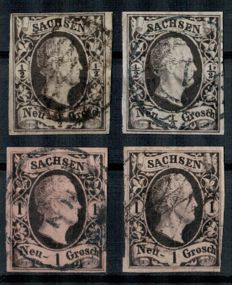Saxony 1851-1863 - King Fr. August + King Johann + coat of arms / Michel no. 3-19