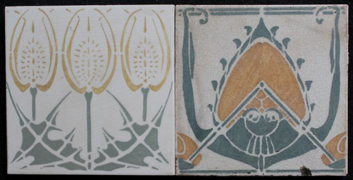 Art Deco Tegels : De distel amsterdam 2 art nouveau tiles catawiki