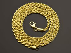 18k Gold Necklace. Chain. Rope - 55 cm. No reserve price.