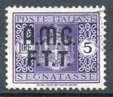 Trieste A 1947 - Variation 'A.M.G. F.T.T.' Postage Due 5 L.  without watermark - Sass.  No.   4A