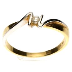 Bicoloured wavy ring - 14 kt gold set with a brilliant cut diamond approx. 0.07 ct, size 19