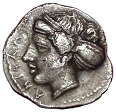 Greek Antiquity - Sicily, Kamarina ca. 409-405 BC - AR Litra (Silver, 11/10mm, 0,80g.) - Head of nymph / Swan - SNG ANS 1210; Weber 1251; Jenkins 171; HGC 537