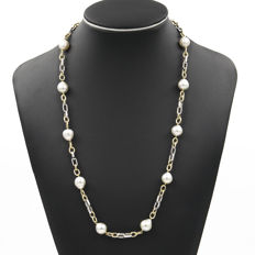 Yellow gold, 750/1000 (18 kt) - Necklace with wide chain and sailor clasp - Australian South Sea pearls - Length: 64 mm