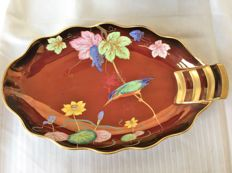 Carlton Ware, Rouge Royale, very nicely gilded hand painted art nouveau decorative bowl with Kingfisher in special design
