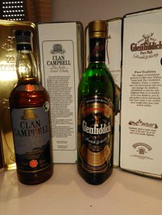 2 bottles - Glenfiddich Special old reserve Pure Malt & Clan Campbell in battle